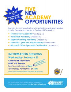 New Academies at Cariboo Hill -Info Session @ Ecole Cariboo Hill Secondary  | Burnaby | British Columbia | Canada