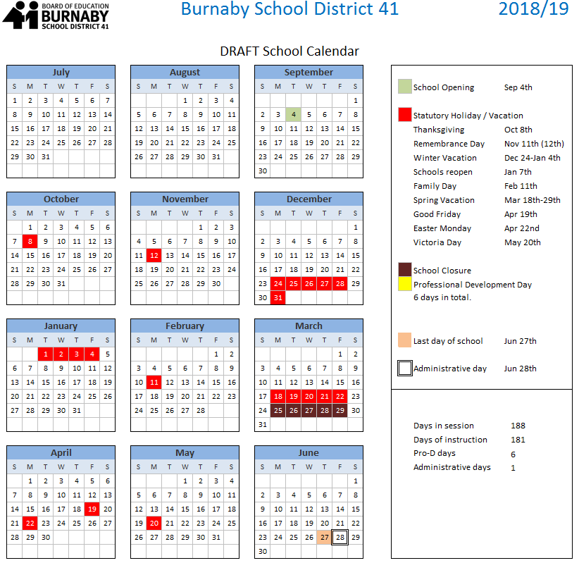 Bc Calendar 2019 2018   2019   Burnaby Schools